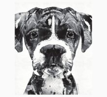 Black And White Boxer Dog Art By Sharon Cummings  One Piece - Long Sleeve