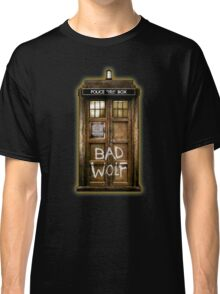 Old Rustic wood Phone box with Bad Wolf typograph Classic T-Shirt