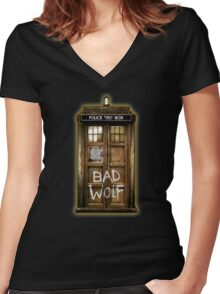 Old Rustic wood Phone box with Bad Wolf typograph Women's Fitted V-Neck T-Shirt