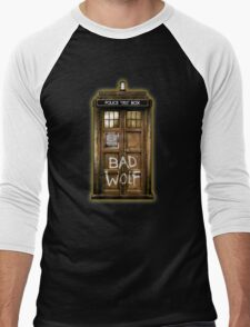 Old Rustic wood Phone box with Bad Wolf typograph Men's Baseball ¾ T-Shirt