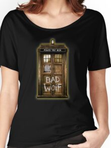 Old Rustic wood Phone box with Bad Wolf typograph Women's Relaxed Fit T-Shirt