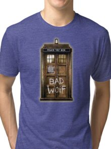 Old Rustic wood Phone box with Bad Wolf typograph Tri-blend T-Shirt