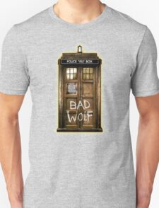 Old Rustic wood Phone box with Bad Wolf typograph Unisex T-Shirt