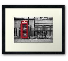 Phone Box and Bike Framed Print