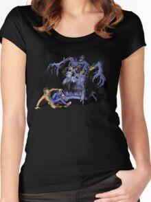 Weird Cursed British blue Phone box Monster Women's Fitted Scoop T-Shirt