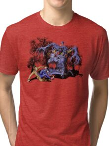 Weird Cursed British blue Phone box Monster Tri-blend T-Shirt