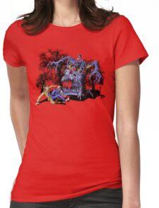 Weird Cursed British blue Phone box Monster Womens Fitted T-Shirt
