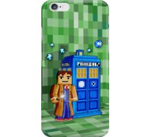 8bit blue phone box with space and time traveller iPhone Case/Skin