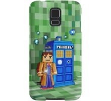 8bit blue phone box with space and time traveller Samsung Galaxy Case/Skin