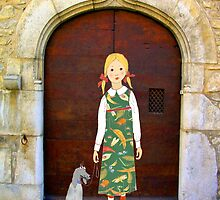 """Little girl wearing insect dress with dog "" by Mary Taylor"