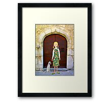 """""""Little girl wearing insect dress with dog """" Framed Print"""