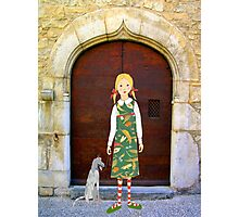 """""""Little girl wearing insect dress with dog """" Photographic Print"""
