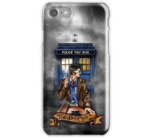 Mysterious Time traveller with blue Phone box iPhone Case/Skin