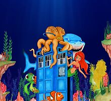 Blue Phone Booth Under the sea by Arief Rahman Hakeem