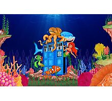 Blue Phone Booth Under the sea Photographic Print