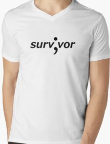Survivor (Semicolon) Mens V-Neck T-Shirt