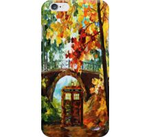 Abandoned time travel phone box under the bridge painting iPhone Case/Skin