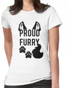 PROUD FURRY   -black- Womens Fitted T-Shirt