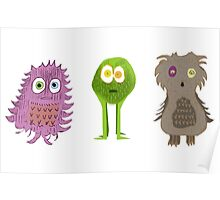 3 Cute Monsters Poster