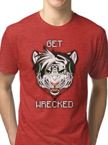 GET WRECKED - White Tiger Tri-blend T-Shirt