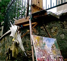 Lonely Easel - Montmartre (Paris, France) by Britland Tracy
