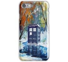 Snowy Blue phone box at winter zone iPhone Case/Skin