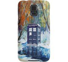 Snowy Blue phone box at winter zone Samsung Galaxy Case/Skin