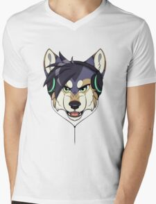 Headphone Wolf Mens V-Neck T-Shirt