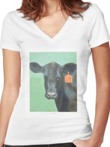 Cow number 13 Women's Fitted V-Neck T-Shirt
