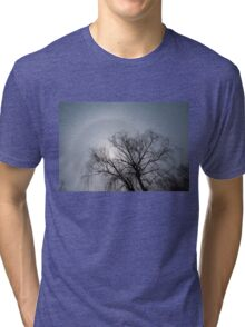 Sun Halo, Trees And Silver Gray Winter Sky Tri-blend T-Shirt