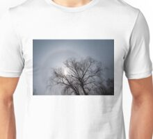Sun Halo, Trees And Silver Gray Winter Sky Unisex T-Shirt