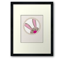 BUNNIES :: peeking circle 5 Framed Print