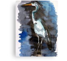 Blue Heron in the Water Canvas Print