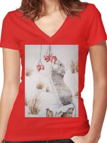 Cute mouse and red berries snow scene wildlife art   Women's Fitted V-Neck T-Shirt