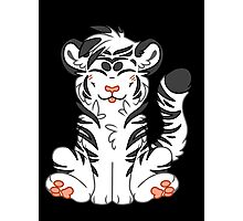 Cute Chibi White Tiger Photographic Print