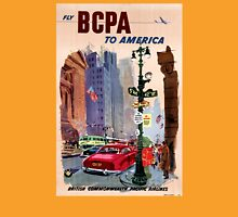 Fly BCPA to America Vintage Poster Restored Womens Fitted T-Shirt