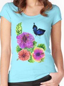 Painted Hibiscus Women's Fitted Scoop T-Shirt