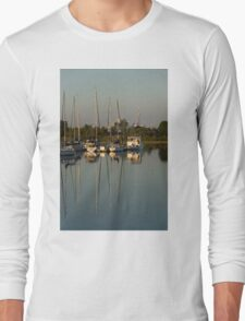 Quiet Summer Afternoon - Boats and Downtown Skyline Long Sleeve T-Shirt