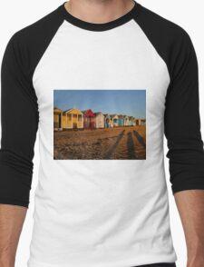 Beach Huts At Sunset Men's Baseball ¾ T-Shirt