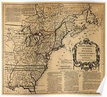 Map of North America by Jefferys & Anville (1755) Poster
