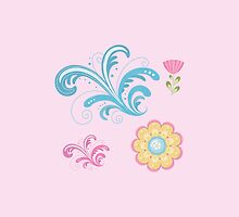 Cute Flowers Swirls Pastels Pattern by apgme