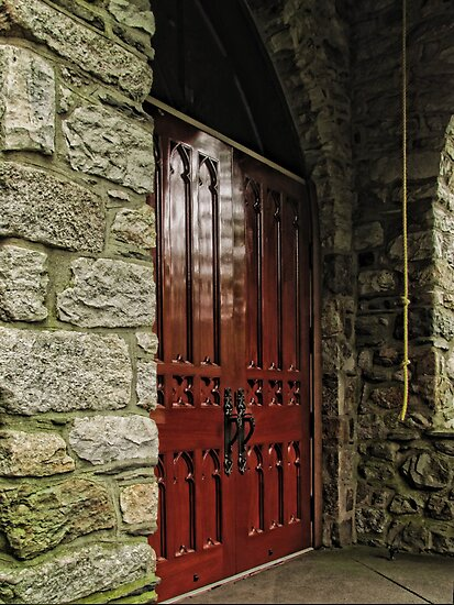 Stone Church Doors by Pamela Phelps