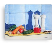 quirky still life realist art peppers and vegetables  Canvas Print