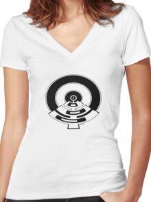 Mandala 23 Eight Ball Back In Black Women's Fitted V-Neck T-Shirt