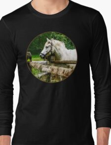 White Horse Looking Away Long Sleeve T-Shirt