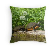 Two on a log  Throw Pillow