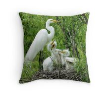 Egret with her Babies  Throw Pillow