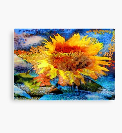 Textured orange  Sunflower Canvas Print