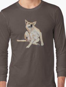 Cute funny germman shepherd cross breed dog scratching art  Long Sleeve T-Shirt