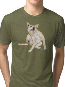 Cute funny germman shepherd cross breed dog scratching art  Tri-blend T-Shirt